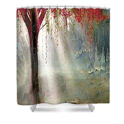 Red Tree 1  Shower Curtain by Todd Krasovetz