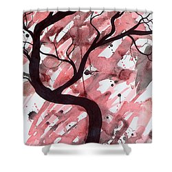 Red Tree Enchantment Shower Curtain