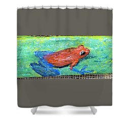 Red Tree Frog Shower Curtain by Ann Michelle Swadener