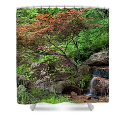Red Tree On The Hill Shower Curtain