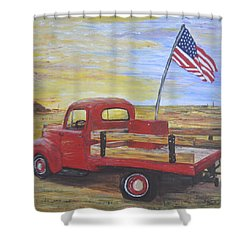 Red Truck Shower Curtain by Debbie Baker