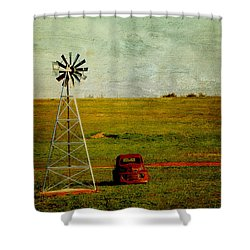 Red Truck Red Dirt Shower Curtain by Toni Hopper