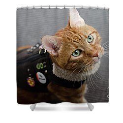 Red Tubby Cat Tabasco Jacket Shower Curtain