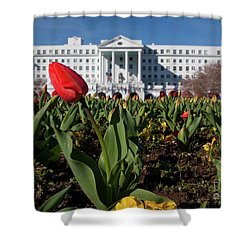 Red Tulip At The Greenbrier Shower Curtain by Laurinda Bowling