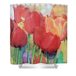 Red Tulips In Spring Shower Curtain by Greta Corens