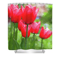 Shower Curtain featuring the photograph Red Tulips In The Spring Garden by Jennie Marie Schell