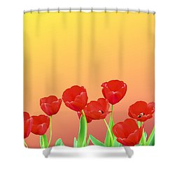 Red Tulips Shower Curtain by Kristin Elmquist