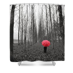 Red Umbrella In An Allee Shower Curtain