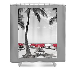 Red Umbrellas On Waikiki Beach Hawaii Shower Curtain by Kerri Ligatich