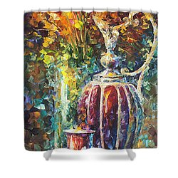 Red Vase Shower Curtain by Leonid Afremov