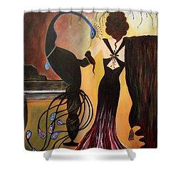 Red Velvet At The Ritz  Shower Curtain by Jolanta Anna Karolska
