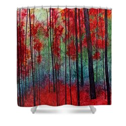 Shower Curtain featuring the painting Red Velvet by Hailey E Herrera