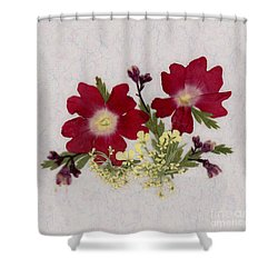 Red Verbena Pressed Flower Arrangement Shower Curtain