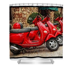 Red Vespas Shower Curtain by Mauro Celotti