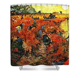 Red Vineyard Shower Curtain by Sumit Mehndiratta