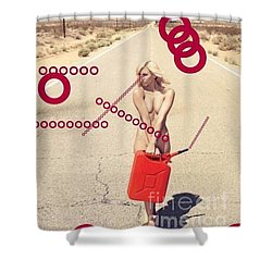 Shower Curtain featuring the mixed media Red Vision by Steven Macanka