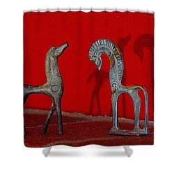 Shower Curtain featuring the digital art Red Wall Horse Statues by Jana Russon