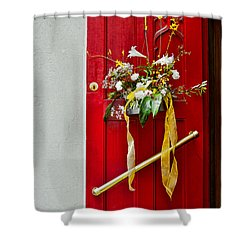 Red Welcome Shower Curtain by Christopher Holmes
