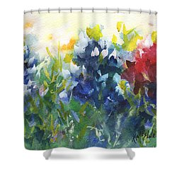Red White And Bluebonnets Watercolor Painting By Kmcelwaine Shower Curtain