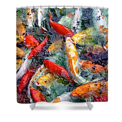 Red White And Gold Shower Curtain