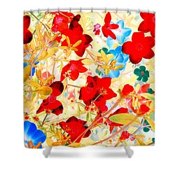 Shower Curtain featuring the photograph Red Wild Flowers by Marianne Dow