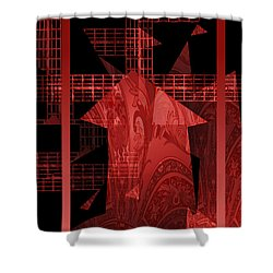 Red Windmill Abstract Shower Curtain