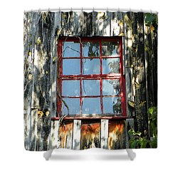 Shower Curtain featuring the photograph The Red Window by Sandi OReilly