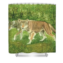 Red Wolves Shower Curtain by Ruth Seal