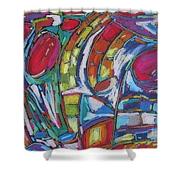 Shower Curtain featuring the pastel Red Worlds Collide by Dianne  Connolly