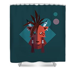 Shower Curtain featuring the digital art Red Xiii by Michael Myers