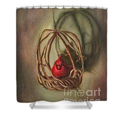 Shower Curtain featuring the painting Redbird by Randol Burns