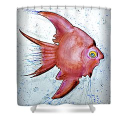 Shower Curtain featuring the mixed media Redfish by Walt Foegelle