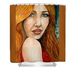 Redhead In October Shower Curtain