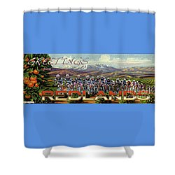 Redlands Greetings Shower Curtain by Linda Weinstock