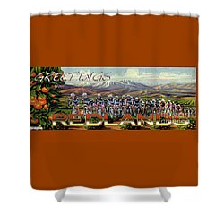 Redlands Greetings Shower Curtain