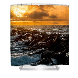 Redondo Beach Sunset Shower Curtain by Ed Clark