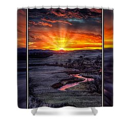 Redwater River Sunrise Shower Curtain