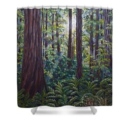 Shower Curtain featuring the painting Redwoods by Amelie Simmons