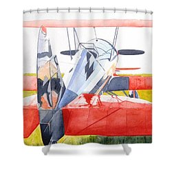Reflection On Biplane Shower Curtain