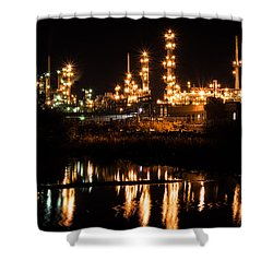 Refinery At Night 1 Shower Curtain