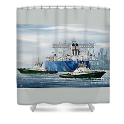 Refinery Tanker Escort Shower Curtain