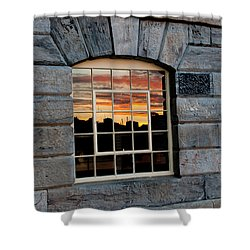 Reflected Sunset Sky Shower Curtain by Helen Northcott