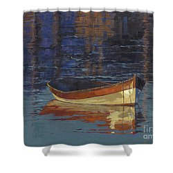 Shower Curtain featuring the painting Sold Reflecting At Day's End by Nancy  Parsons
