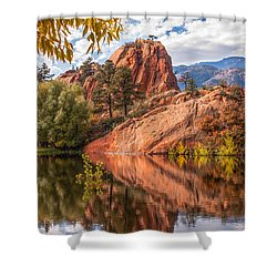 Reflecting At Red Rocks Open Space Shower Curtain