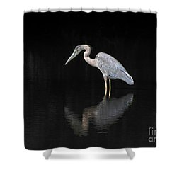 Reflecting Heron Shower Curtain