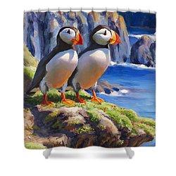 Horned Puffins - Coastal Decor - Alaska Landscape - Ocean Birds - Shorebirds Shower Curtain