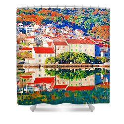 Reflecting On Croatia Town Autumn Shower Curtain