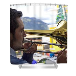 Reflecting On His Music Shower Curtain