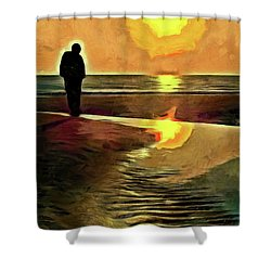 Shower Curtain featuring the mixed media Reflecting On The Day by Trish Tritz
