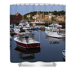Reflection At Rockport Harbor Shower Curtain